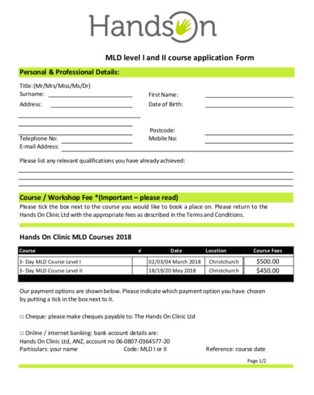 COURSE APPLICATION FORM 2017- AUG and NOV.
